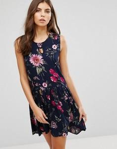 Асимметричное приталенное платье с цветочным принтом Ax Paris - Темно-синий