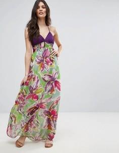 Платье макси с тропическим принтом Jasmine - Фиолетовый