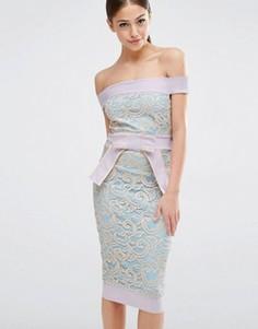 Кружевное платье с бантом на талии Vesper - Мульти