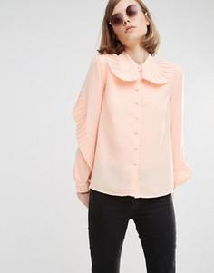 Рубашка с большим плиссированным воротником Lost Ink - Бежевый