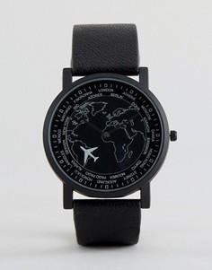 Часы со стрелкой в виде самолета ASOS - Черный