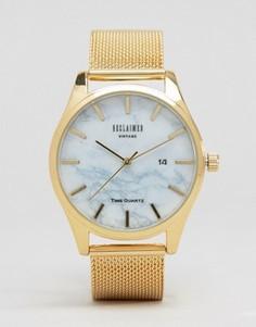 Золотистые часы с сетчатым браслетом и мраморным узором Reclaimed Vintage - Золотой