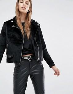 Байкерская куртка с отделкой под ворс пони Religion - Черный