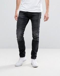 Серые выбеленные джинсы слим с отделкой в байкерском стиле Jack & Jones Intelligence - Серый