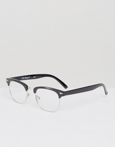 Очки в стиле ретро с прозрачными стеклами AJ Morgan - Черный