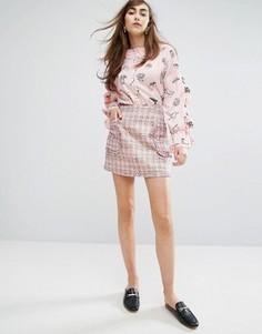 Мини-юбка из твида Sister Jane - Розовый