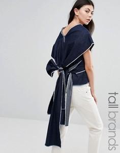 Топ с рукавами-кимоно и запахом сзади Waven Tall Sanna - Синий