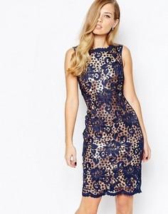 Кружевное платье с нижним слоем бронзового цвета Body Frock Nancy - Синий