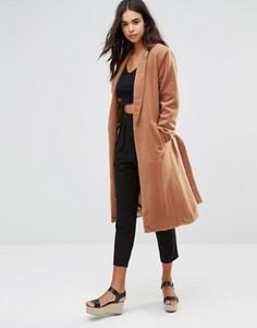 Пальто в стиле халата с поясом-завязкой Unique 21 - Рыжий