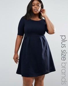 Приталенное платье размера плюс Junarose East - Темно-синий