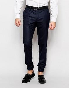 Эластичные брюки слим с кромкой манжетом Jack & Jones Premium - Синий