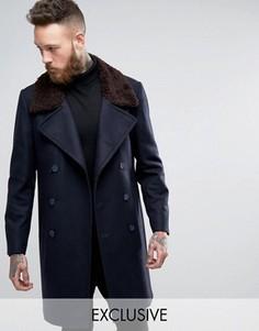 Двубортное пальто с воротником из искусственного меха Heart & Dagger - Темно-синий