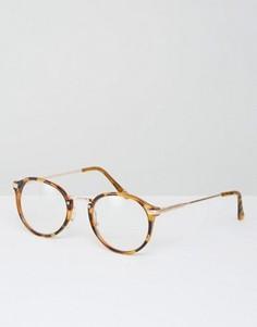 Круглые очки с прозрачными стеклами Jeepers Peepers - Коричневый