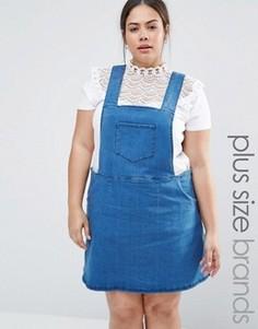 Джинсовое платье-сарафан с молнией сбоку NVME - Синий