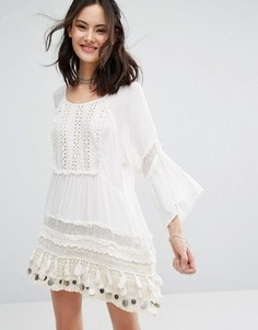 Платье-туника с отделкой монетами Raga Sun Goddess - Белый