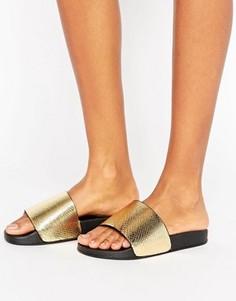 Сандалии на плоской подошве с блестящей золотистой отделкой Glamorous - Золотой