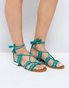 Сандалии с заклепками и завязками Glamorous - Зеленый