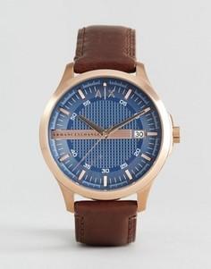 Часы с коричневым кожаным ремешком Armani Exchange AX2172 - Коричневый