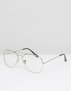 Серебристые очки-авиаторы с прозрачными стеклами ASOS Geeky - Серебряный