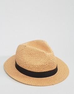 Соломенная шляпа федора с высокой тульей ASOS - Бежевый