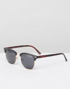 Черные солнцезащитные ретро‑очки в черепаховой оправе ASOS - Черный