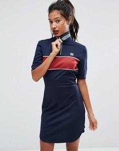Темно-синее платье с высоким воротом adidas Originals London - Синий