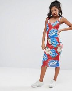 Платье миди с цветочным принтом adidas Originals Farm - Мульти
