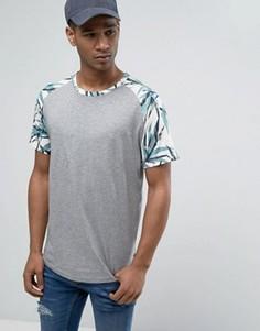 Длинная футболка с рукавами реглан с принтом Jack & Jones Originals - Серый