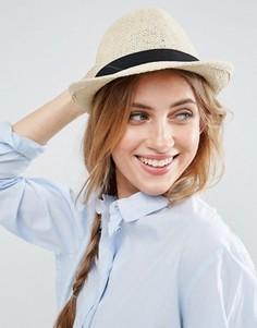 Соломенная шляпа-трилби ASOS - Бежевый
