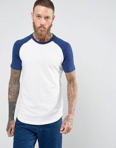 Длинная футболка с рукавами реглан Selected Homme - Синий