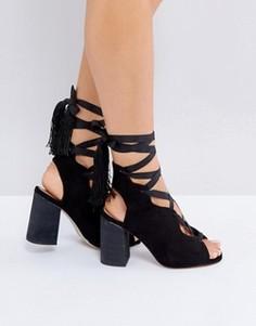 Босоножки на каблуке со шнуровкой ASOS TOPHAT - Черный