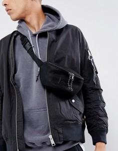Черная сетчатая сумка-кошелек на пояс ASOS - Черный
