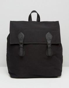 Черный парусиновый рюкзак с отделкой из искусственной кожи ASOS - Черный