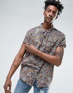 Черная рубашка с цветочным принтом Rollas - Черный Rollas
