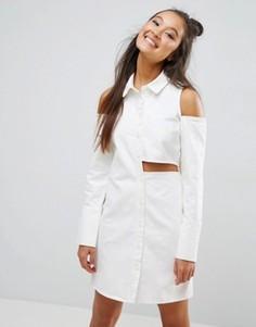 Белое деконструированное джинсовое платье-рубашка ASOS - Белый