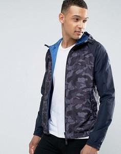 Синяя куртка с капюшоном и камуфляжным принтом Armani Jeans - Синий