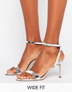 Босоножки на каблуке для широкой стопы ASOS HIDEAWAY - Серебряный
