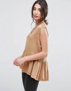 Блузка с баской Selected Chari - Бежевый