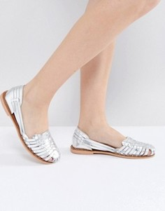 Плетеные сандалии цвета металлик Boohoo - Серебряный
