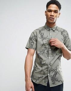 Узкая рубашка с короткими рукавами и принтом Only & Sons - Зеленый