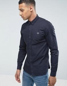 Темно-синяя рубашка в горошек с длинными рукавами Fred Perry - Темно-синий