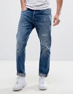 Свободные джинсы с рваной отделкой и заплатками G-Star 3301 - Синий