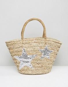 Плетеная пляжная сумка с серебристыми звездами Chateau - Бежевый
