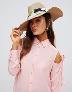 Соломенная шляпа с тропическим принтом Genie by Eugenia Kim Willa - Мульти