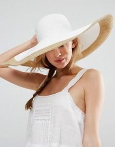 Мягкая соломенная оversize-шляпа с золотисто-розовой отделкой ASOS - Белый