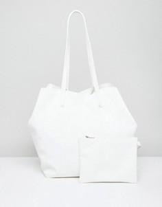Мягкая сумка-шоппер со съемным клатчем ASOS - Белый