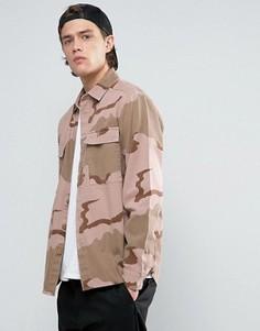 Камуфляжная рубашка навыпуск ASOS - Stone