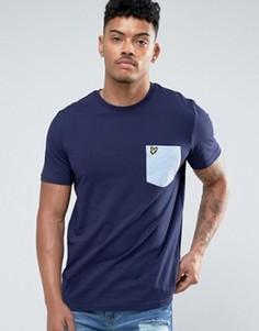 Темно-синяя футболка классического кроя с карманом и логотипом в виде орла Lyle & Scott - Темно-синий