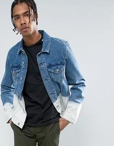 Выбеленная радужная джинсовая куртка ASOS - Синий