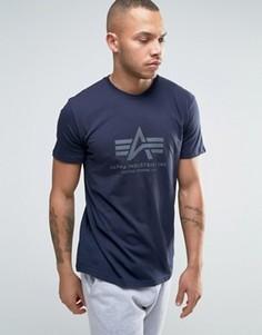 Темно-синяя футболка классического кроя Alpha Industries - Темно-синий